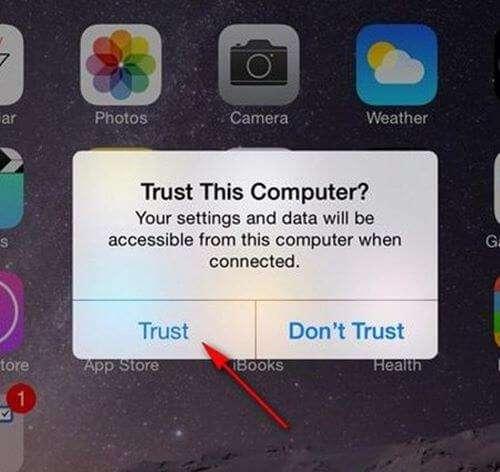Nhấn trust để xác nhận việc ý kết nối iphone với máy tính