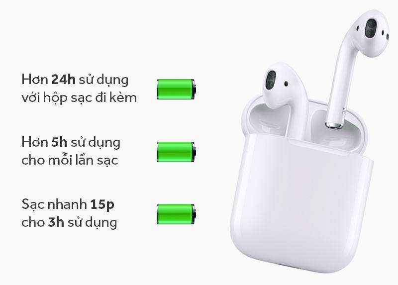 Thời lượng sử dụng pin tai nghe Airpod 1