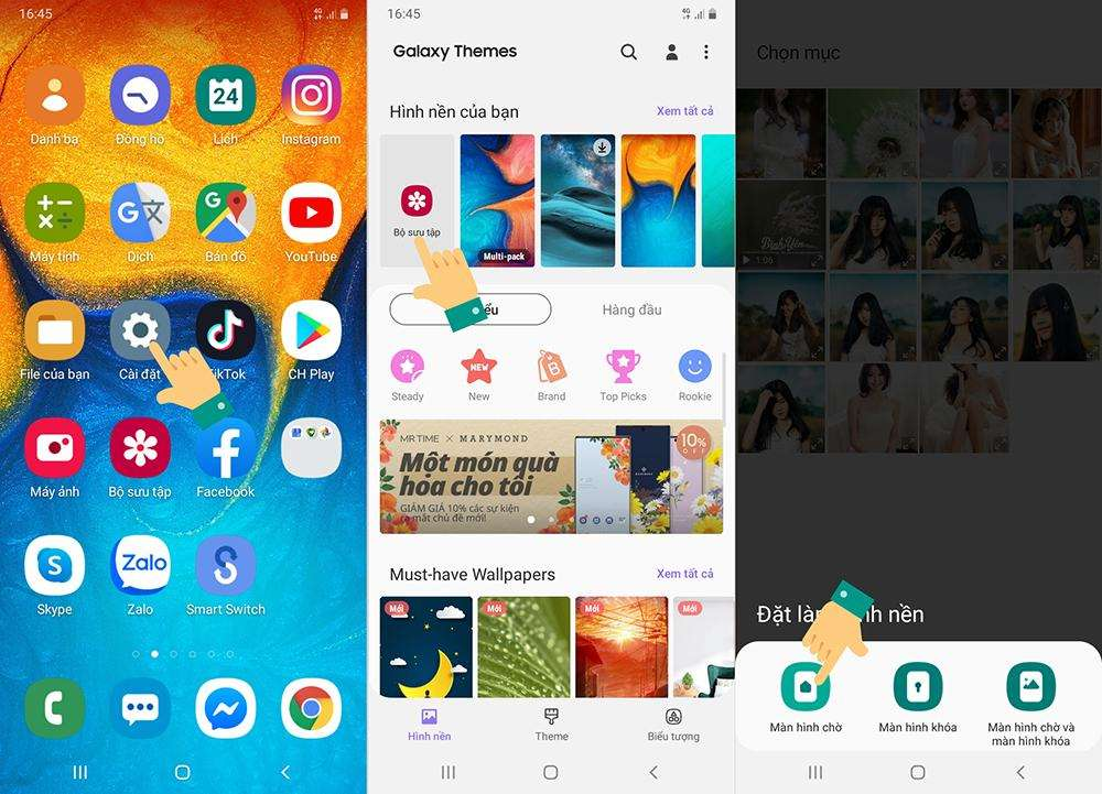 Các bước thay đổi hình nền điện thoại Samsung