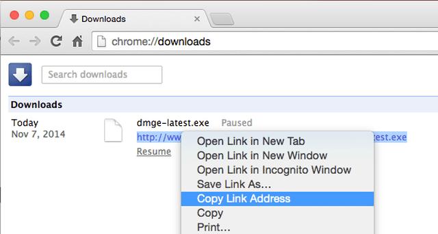 Lấy link dowload tệp trên Chrome