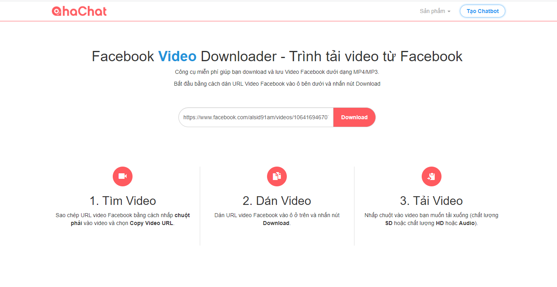 Giao diện trang chủ của công cụ tải video trên facebook