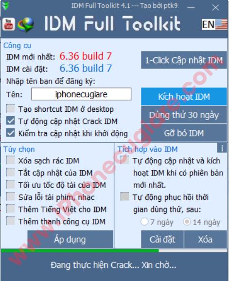 IDM đang được kích hoạt bản quyền