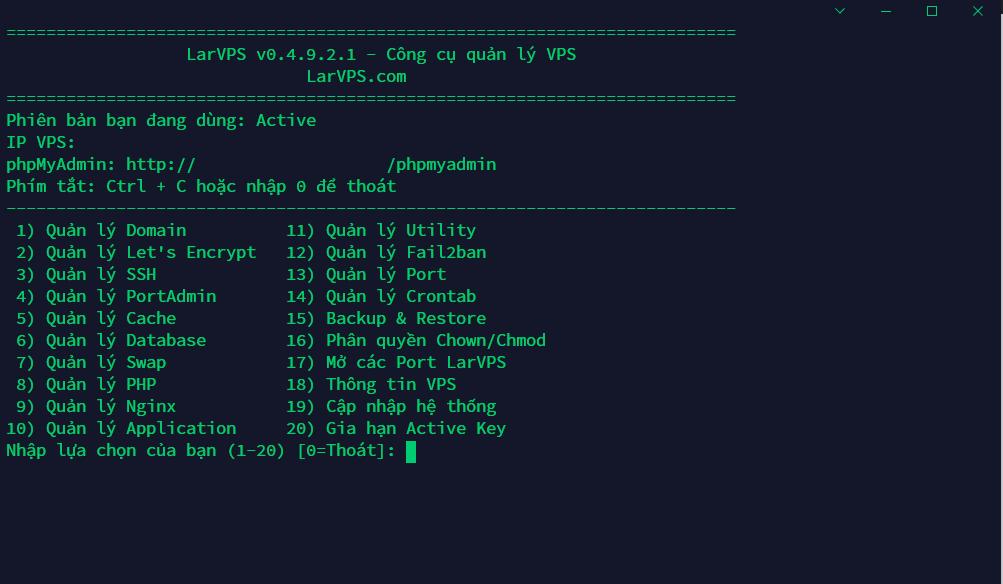 Giao diện chính bảng điều khiển của LarVPS