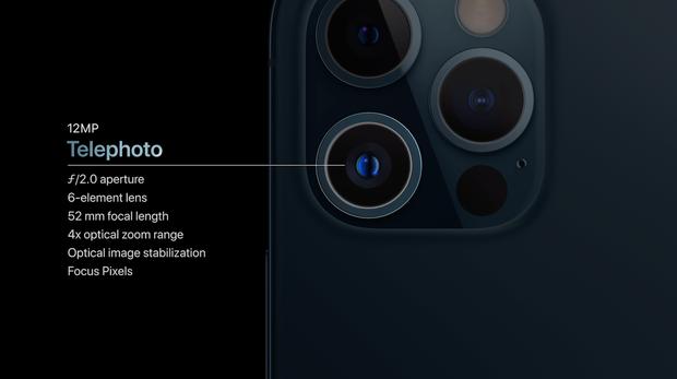 Camera góc tele trên iPhone 12 Pro. 2 camera còn lại có thông số tương tự nhau ở cả 2 dòng máy Pro, nhưng dòng iPhone 12 Pro Max sở hữu khả năng zoom xa hơn với tiêu cự 65mm thay vì 52mm như trên iPhone 12 Pro