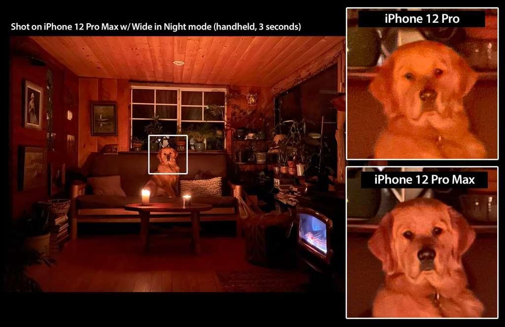 Chụp ảnh chế độ ban đêm giữa iPhone 12 Pro Max và Pro. Ảnh: MacRumors